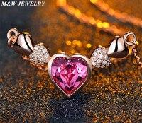 M & W JÓIAS Colares Da Marca de Moda 925 prata esterlina AMOR Coração Colar de Pingente + Cadeia de jóias para As Mulheres
