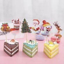 24 шт./лот украшения Merry для рождественской вечеринки картона Санта Клаус/футболки в рождественском стиле в виде пирожного в чашке DIY топперы с барабанные палочки
