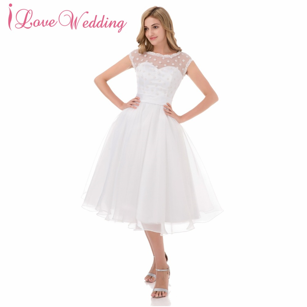 2016 Beach Little White Wedding Dress With Polka Dotted Robe De Mariage A Line Short Bridal Dress Gown See Through Tulle
