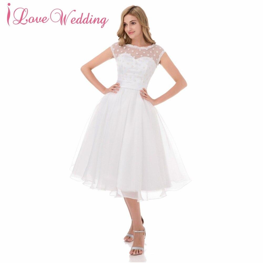76cc751d3f931 Düğün elbisesi 2019 Illusion Scoop Yaka Cap Kollu Robe De Mariage Bir Çizgi  Kısa Diz Boyu Gelin Elbise Gerçek Fotoğraf