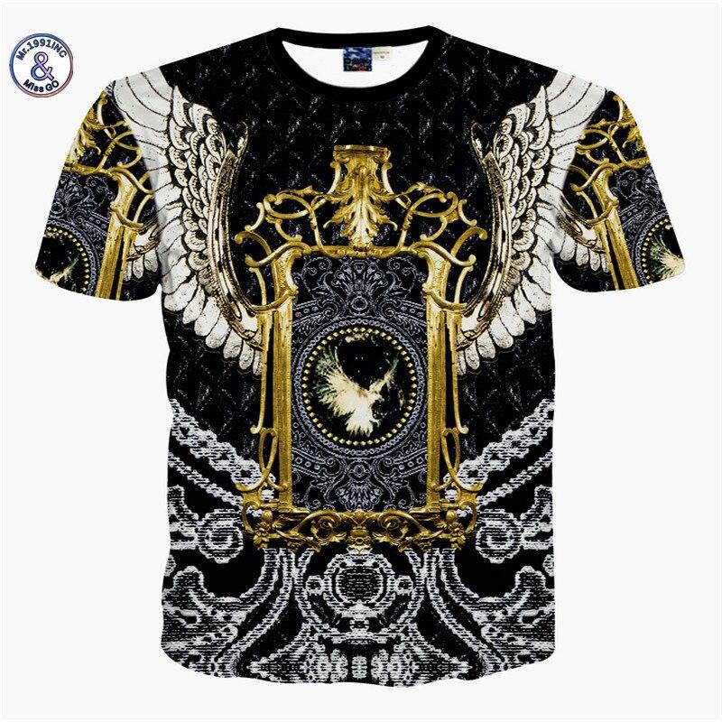 2017 Mr.1991INC&Miss.GO Summer New Mr GUGU & Mis GO versa T Shirt faith 3D Gold-plated flower printing T-shirt Tops Large size