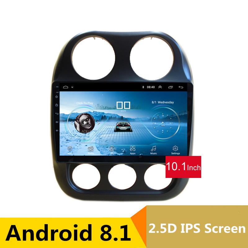 10.1 2.5D IPS Écran Android 8.1 Voiture DVD GPS Pour JEEP COMPASS 2010 2011-2015 2016 audio de voiture radio stéréo magnétophone wifi