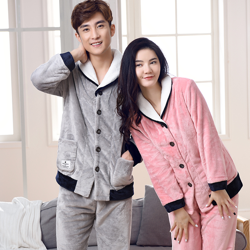 Warm Winter Couple Pyjamas Sets Women Thick Warm Suit Soft Flannel Long Sleeve Men Soild Pants Sleepwear