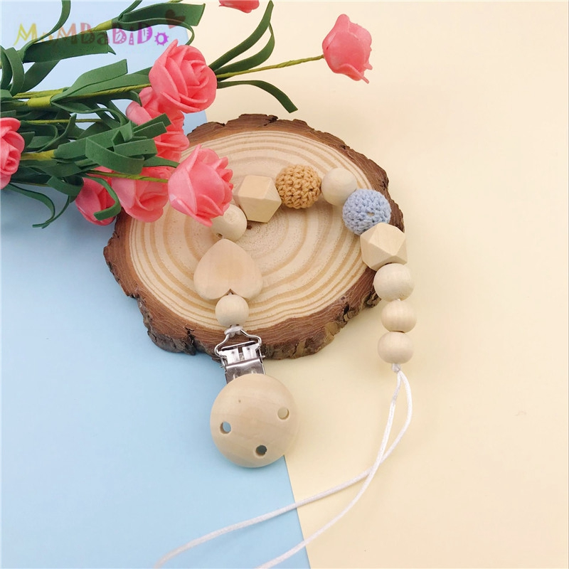 Baby Pacifier Clip Holder Natural Wooden Ring Shaped Pendant Dummy Holder Crochet Beads New-born Gift Baby Toy Best Gifts