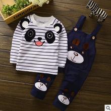 2018 Conjuntos Panda Padrão de Algodão Da Listra de Manga Longa Roupas Criança Roupas Conjunto Meninos Bebê Dos Desenhos Animados Desgaste Do Esporte Ternos Cavalheiro