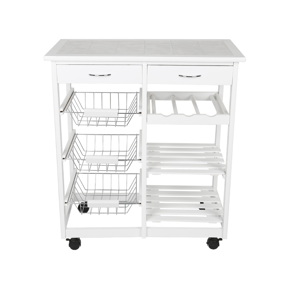 New Kitchen Trolley Cart Dining Shelf Island With Wine Rack Basket Storage Drawers 67*37*75CM HWC