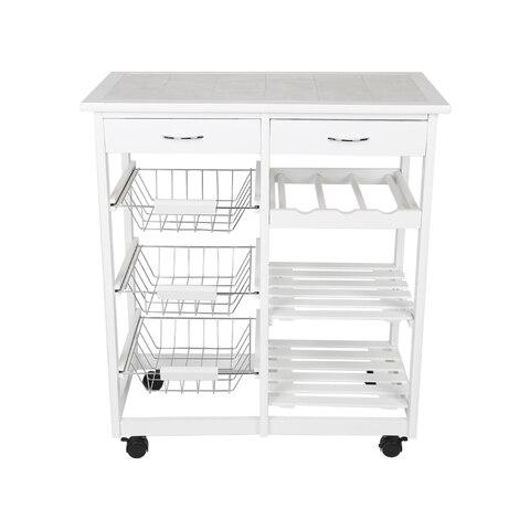 New Kitchen Trolley Cart Dining Shelf Island with Wine Rack Basket Storage Drawers 67*37*75CM HWC Pakistan