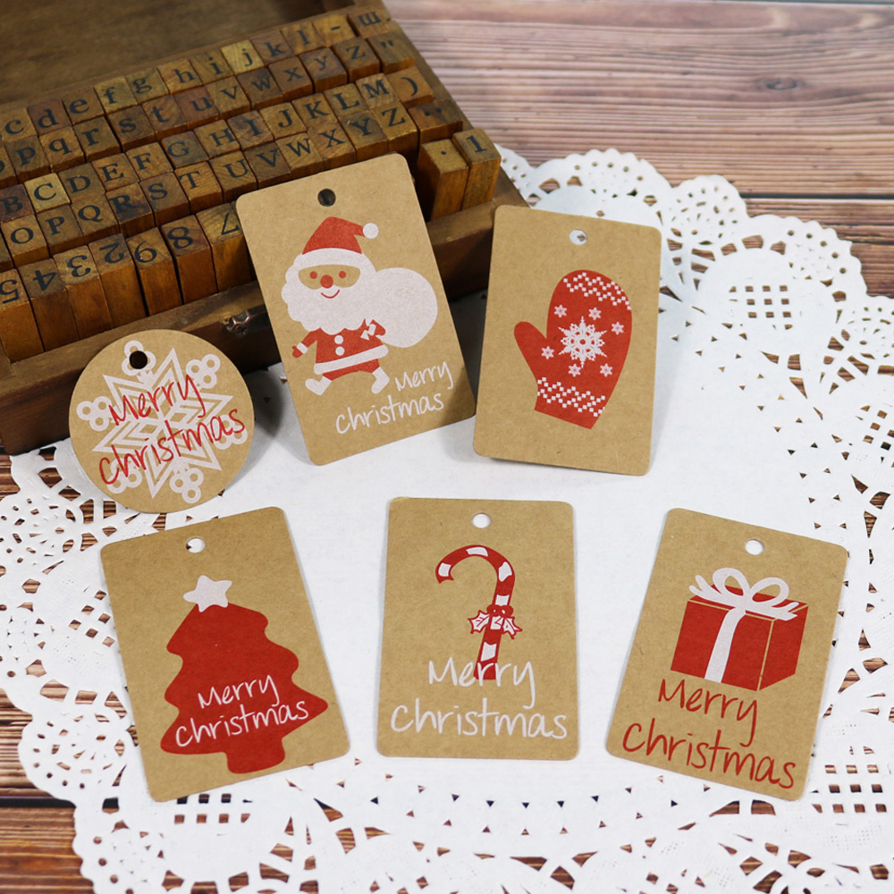 Christmas Gift Tags Diy.50pcs Kraft Christmas Gift Tags Santa Claus Paper Hang Tag Snowflake Christmas Tree Party Decoration Diy Label With Hemp String