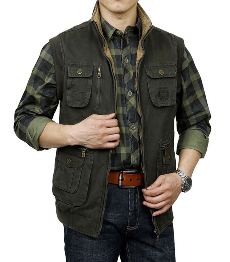 M~3XL 2015 Autumn Spring Reversible Casual Men Vest Coat AFS JEEP Cotton Pocket Cargo Outdoor Sleeveless Jackets Waistcoat Vests (19)