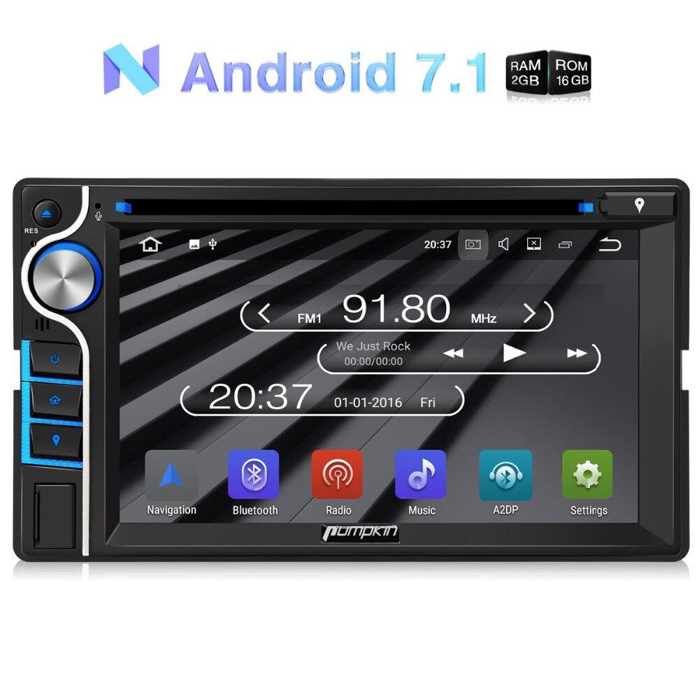 Citrouille 2 Din 6.2 ''Android 7.1 Universel De Voiture DVD Lecteur Quad-Core GPS Navigation Voiture Stéréo FM Rds Radio DAB + Bluetooth Headunit