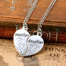 IPARAM 2PC Silver Plated Mother Daughter Necklace Silver Heart Love Mom Necklaces & Pendants For Women Jewelry Collier Femme