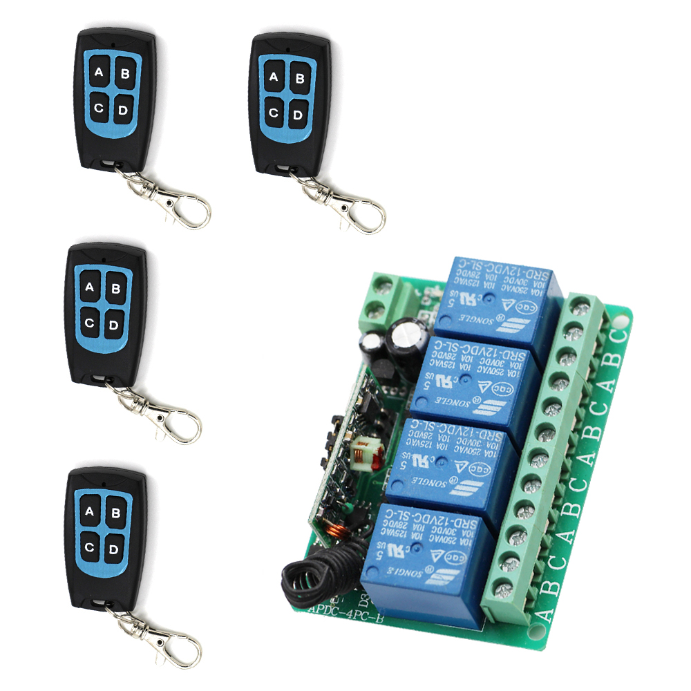 High Quality DC12V 4CH Wireless Remote Control Switch System 1*Receiver +4* Transmitters for Appliances Gate Garage Door black 2key 85v 110v 250v 1ch wireless remote control switch 1 receiver 4 transmitters for appliances gate garage door