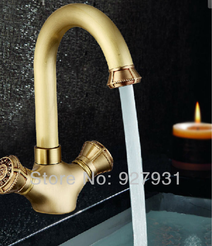 Double Handles Antique Brass Bathroom Kitchen Faucet Deck Mount Hot and Cold Water Mixer Tap