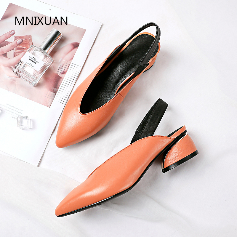 MNIXUAN Classics women sandals genuine leather shoes women summer 2019 elegant pointed toe slip on block medium heels size 34-42MNIXUAN Classics women sandals genuine leather shoes women summer 2019 elegant pointed toe slip on block medium heels size 34-42