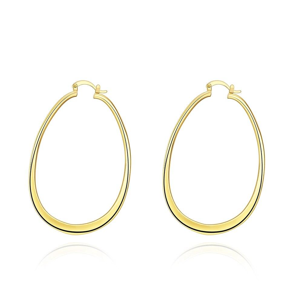 Jexxi Terbaru Vogue Bergaya U Shap Wanita Lingkaran Anting Hoop Soket Ic Premium 8 Pin Round Hole Lubang Bulat Type Gold Plate Telinga Aksesoris Perhiasan Fashion Warna Emas Cepat Gratis Pengiriman