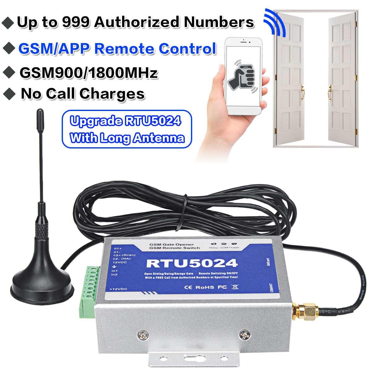 RTU5024 ouvreur de porte GSM | Commutateur de relais, télécommande sans fil, accès avec antenne de 300cm, Kit mis à niveau pour les systèmes de stationnement