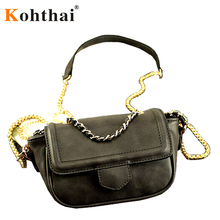 Kohthai 2016 Autumn Must Have~! Golden Chain Rivet Saddle Bag Women Messenger Bags Bolsa Feminina Crossbody Bag Handbag FB017g5