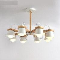 Modern Led Wooden Chandelier Lighting Fixture With Iron Lampshade Wood Hanging Lights Indoor Suspension Lamp For Living Bedroom