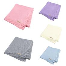 Newborn Baby Blanket Swadding Knitted Swaddle Wrap Soft Toddler Bedding Sofa Quilt Solid Color Stroller Cover