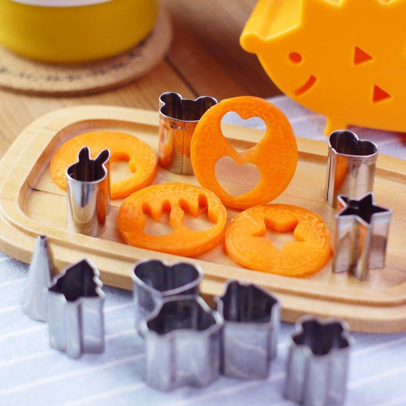 5 vnt / partija mielas juokingas mini sausainių kepimo įrankiai Nustatyti vaisių daržovių pjaustytuvų pjaustytuvai Virtuvės virimo įrankiai vaikui
