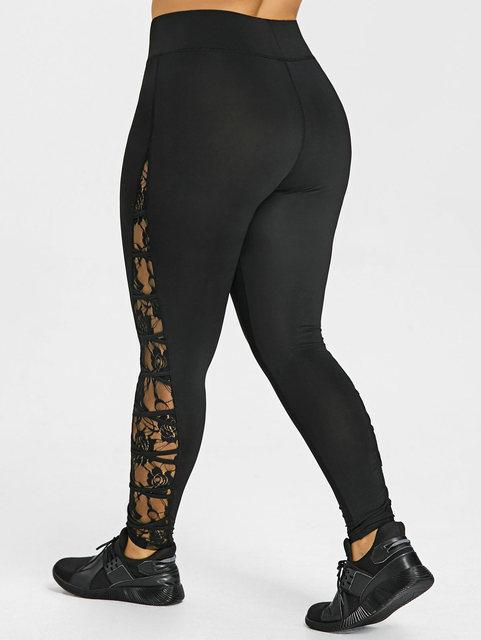 d22c3c15884 High Elastic Waist Leggings Women Sexy Criss Cross Plus Size Lace Panel  Leggings Female Workout Summer Trousers 5XL