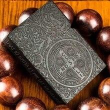 YKYJ zpo бренд вставки ручной резной Constantine черное дерево Зажигалки с коробкой