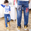 Children Jeans Boys Letter Jeans Pants 2017 Spring Light Wash Boys Jeans for Boys Regular Elastic Waist Children's Jeans P253