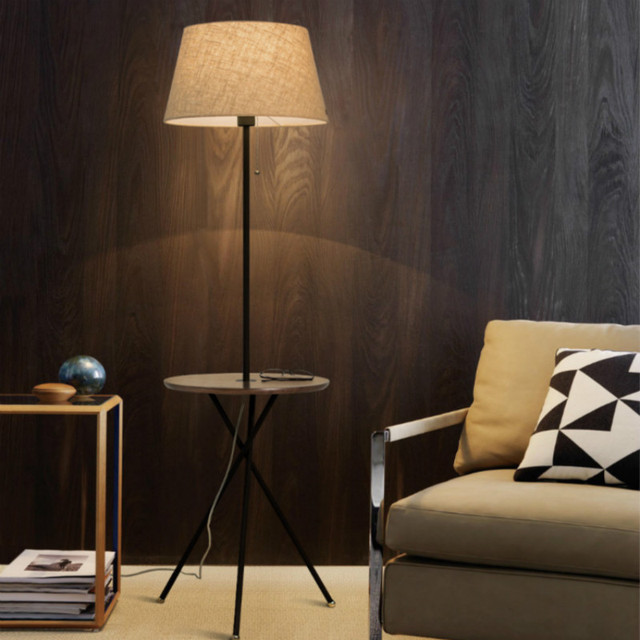 New nordic european creative modern oak wood linen led e27 floor new nordic european creative modern oak wood linen led e27 floor lamp with teapoy for living aloadofball Image collections