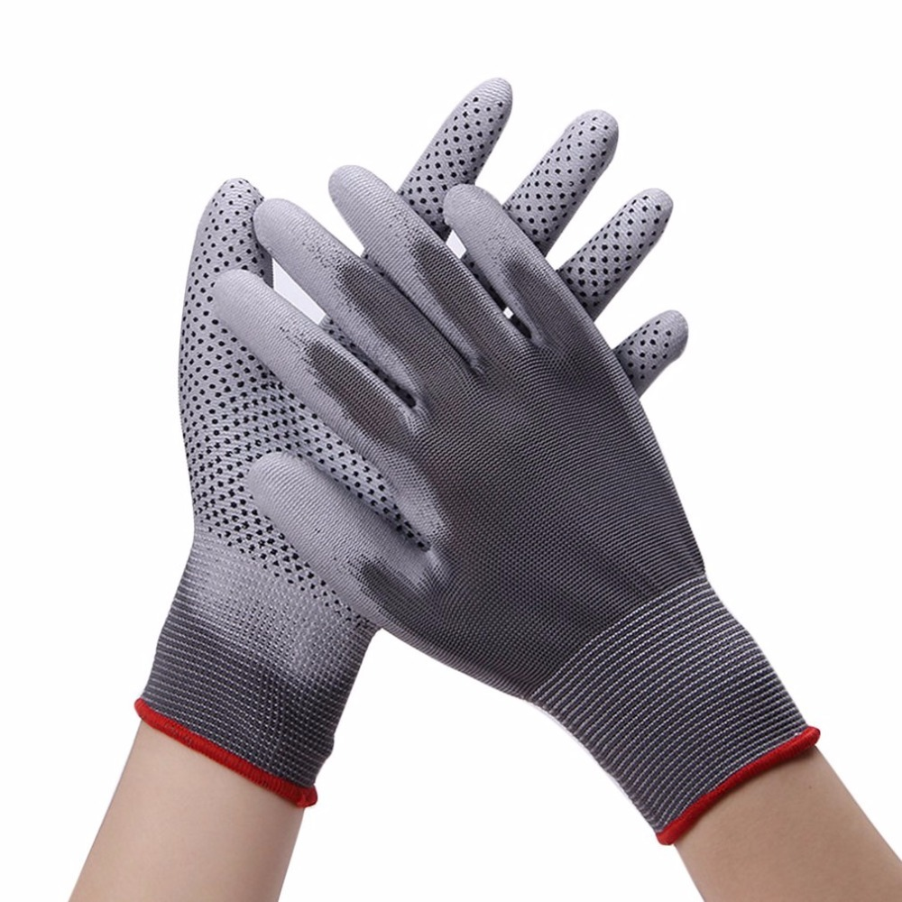1 Pair PU Work Gloves Palm Coated Working Gloves Five Fingers Wear-resistant Non-slip Workplace Safety Supplies Protective Glove new safurance 10 paris wear resistant nylon nitrle precision protective builders gardening working safety gloves