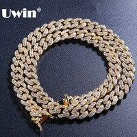 Uwin 9 мм Micro Pave Iced CZ Кубинский ссылка ожерелья для мужчин цепи Золото Цвет Роскошные Bling ювелирные изделия Мода хип хоп Мужчин