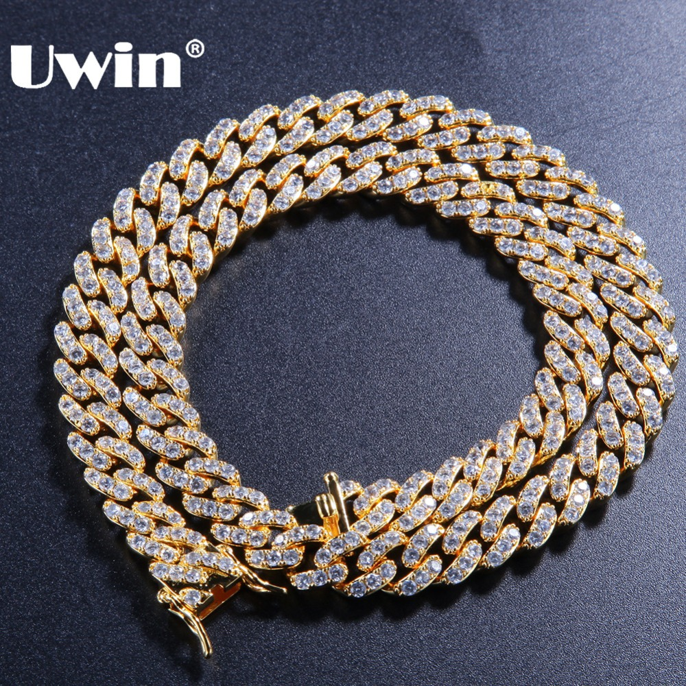 Uwin 9mm Micro Pave Iced CZ Cuban Link Necklaces Chains Gold Color Luxury Bling Bling Jewelry Fashion Hiphop For MenUwin 9mm Micro Pave Iced CZ Cuban Link Necklaces Chains Gold Color Luxury Bling Bling Jewelry Fashion Hiphop For Men