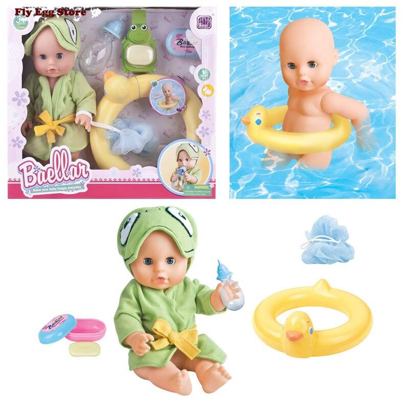 ФОТО Hot Swimming reborn baby doll with milk Bottle Swimming ring soap bath ball,Bowl Bathrobe plastic bath toy New born baby doll