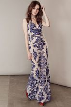 2016 Women Fashion Sexy sheer nude mesh Blue inspired floral embroidery Lace Up Back Temecula Maxi