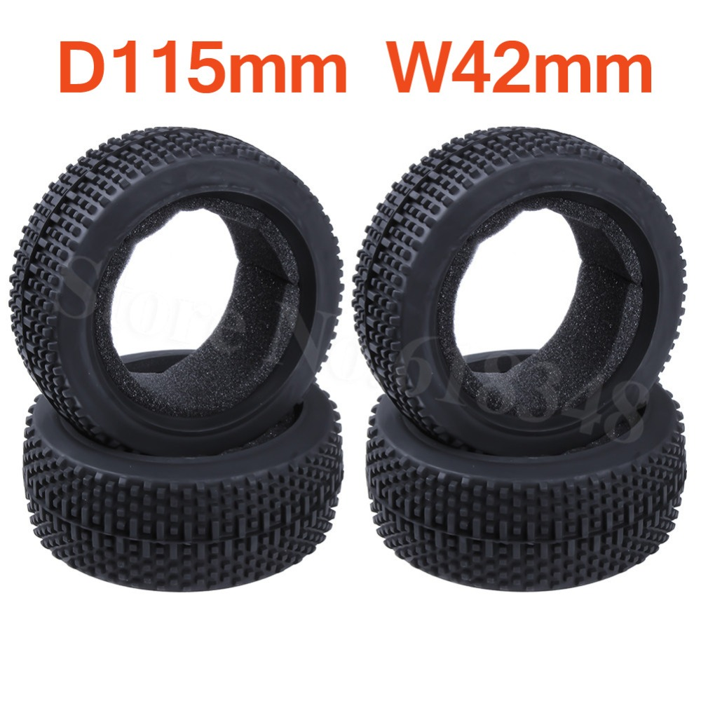 """4 Pieces Rubber 3.2"""" Tire 17mm Hub Diameter 115 Width: 42mm For RC 1/8 Off Road Buggy HSP HPI Losi Ofna Kyosho(China)"""