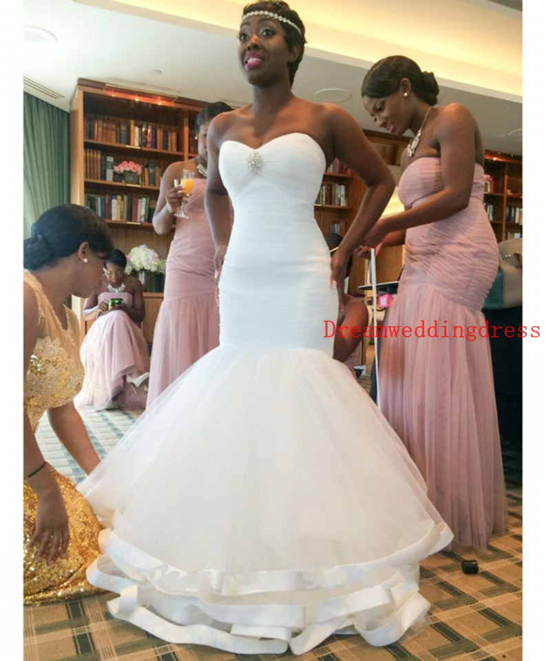 2016 New Stock Plus Size Women Bridal Gown Wedding Dress: Vestido De Noiva 2016 African Wedding Dresses New Fashion