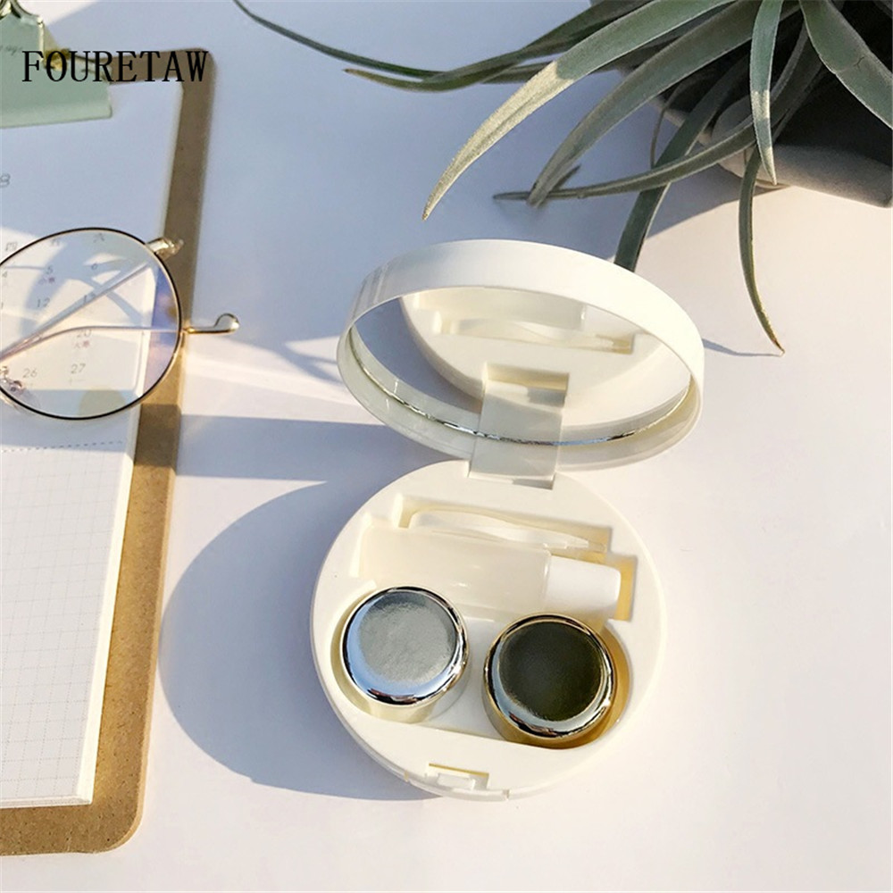 In Quality Fouretaw 1 Set Cute Cartoon Robot Pattern Style Pocket Mini Contact Lens Case Travel Kit Easy Carry Mirror Mirror Container Excellent