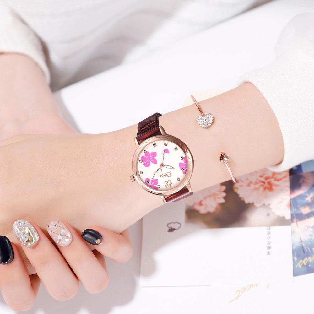 Women Magnetic Watch 2019 Luxury Diamond Ladies Quartz Wrist Watch Fashion Flower Dial Female Clock relogio feminino reloj mujer in Women 39 s Watches from Watches