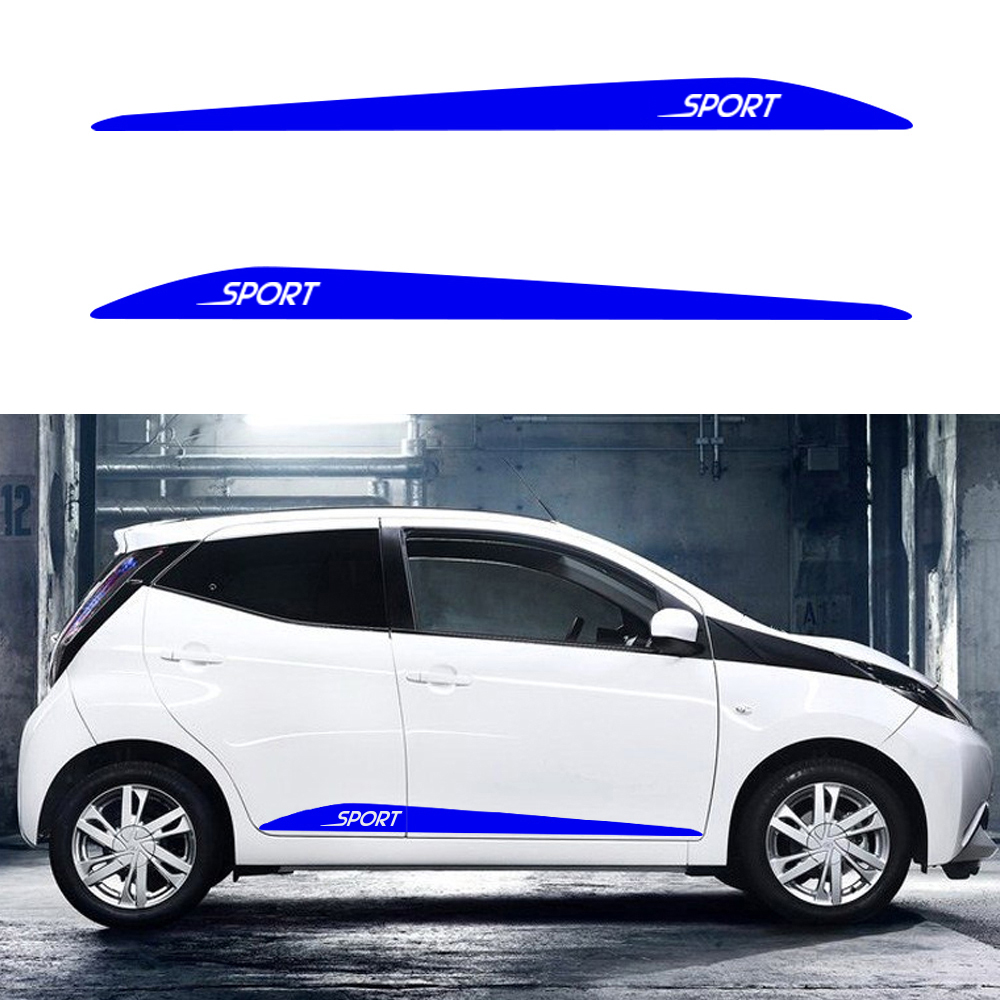 Car Sticker For Toyota AYGO Arius Yaris Car Side Stripes Side Skirts Graphics Racing Sport Auto Stickers