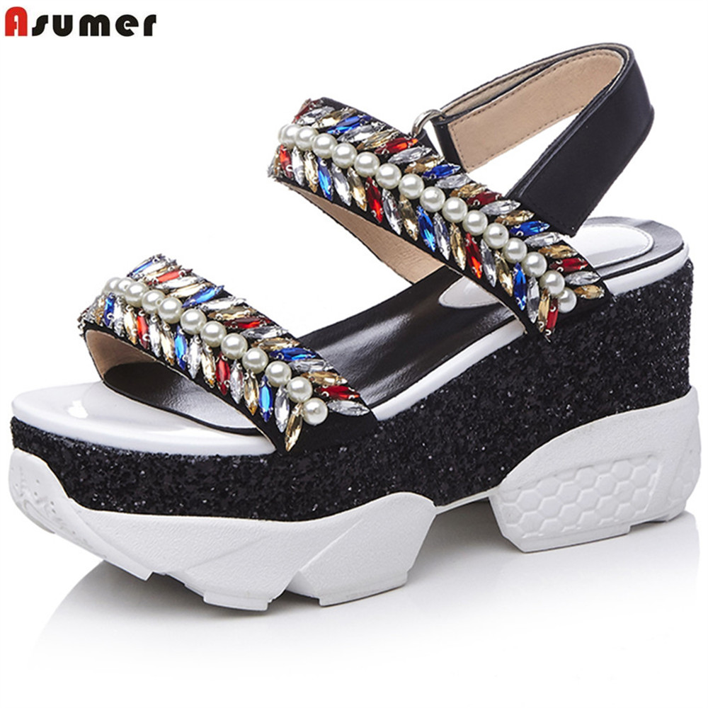 Asumer black fashion summer new shoes woman platform wedges shoes elegant crystal women genuine leather high heels sandals woman fashion high heels sandals women genuine leather buckle summer shoes brand new wedges casual platform sandal gold silver