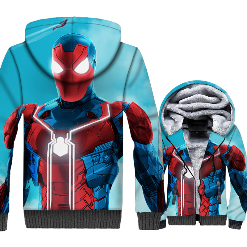 3D print thick sweatshirts casual wool liner jackets novelty Spiderman Super hero clothes man 2019 men high quality hoodies coat