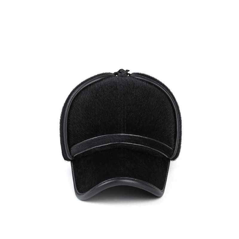 df6e3b23542 ... Thick Fur Winter Hat Fashion Mink Fur Man Warm Baseball Cap Face  Protection Fur Hat Windproof ...