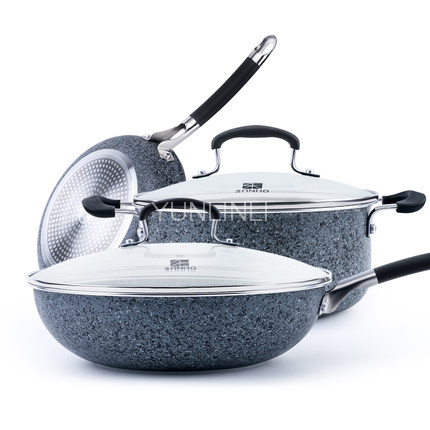 3 pieces/ Set Non-stick Frying Pan Cooking Pot and Soup Pot Kitchen Smokeless Cooker Cookware Set Combination T608 homeleader 7 in 1 multi use pressure cooker stainless instant pressure led pot digital electric multicooker slow rice soup fogao