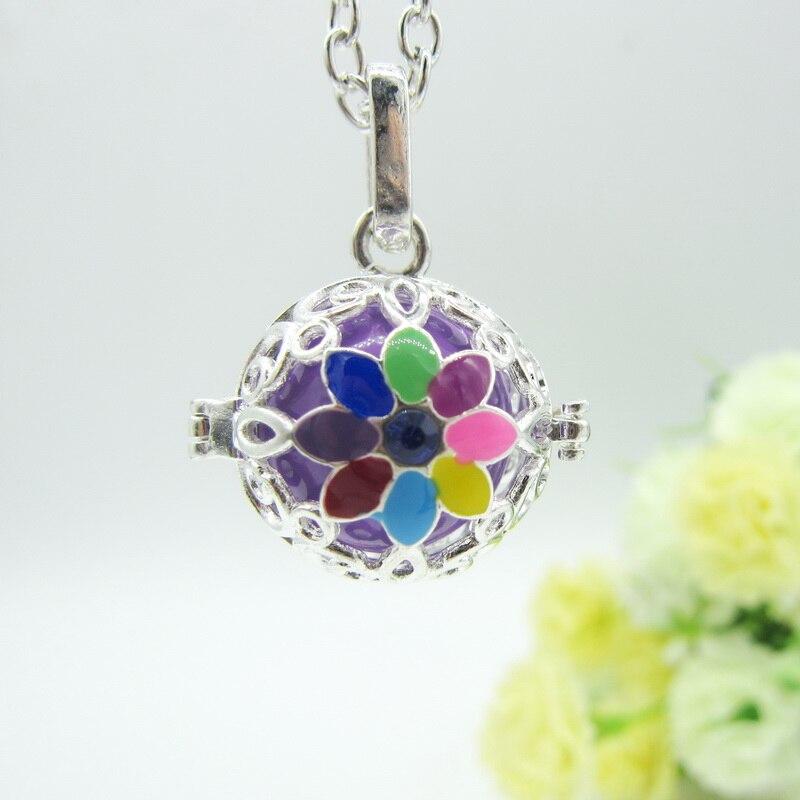 Новое поступление красивые эпоксидной Цветной цветок Jingle звук колокольчика мяч для живота DIY медальон кулон Цепочки и ожерелья ледиs Jewelry