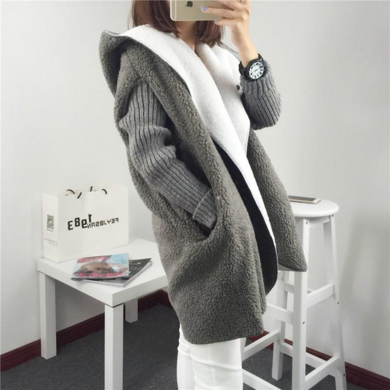 New Autumn Winter Women Knitted Sweater Women Long Hooded Lambswool Patchwork Loose Oversize Cardigans Outwear Coat