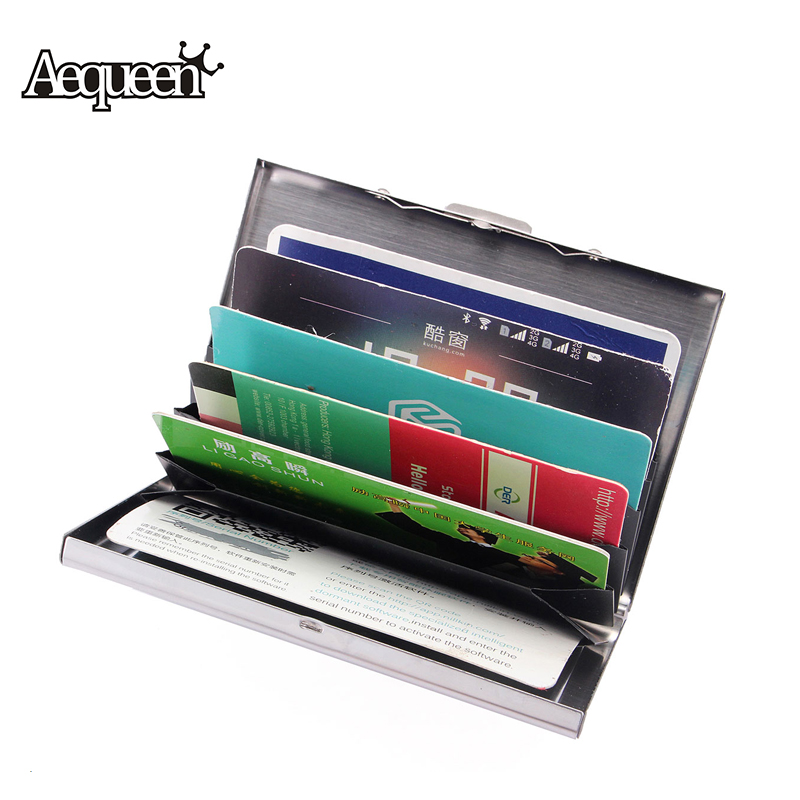 AEQUEEN New Waterproof Business ID Credit Card Holder Stainless Iron Men Women Metal Bank Cards Wallet Case Boxes Cassical Style