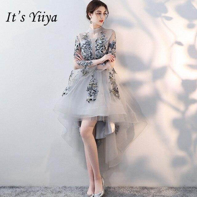 49e2574d248 Это Yiiya Роскошные вечерние платья длинный рукав вышивка Элегантный кружево  до цветок известный дизайнер Вечерние партии