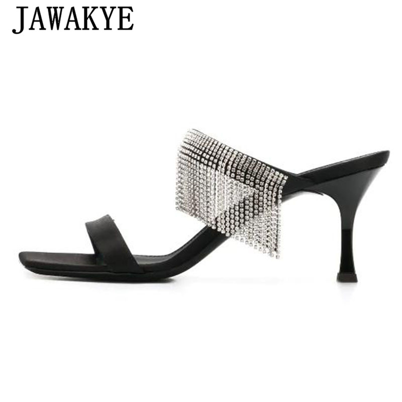 New Rhinestonoe fringe Slippers women high heel sandals diamond crystal string beaded tassel sandals runway design