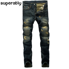 Designer Men Jeans 2017 Newly Ripped Jeans For Men Superably Brand Jeans Men Distressed Pants Embroidery Patch Denim Jeans