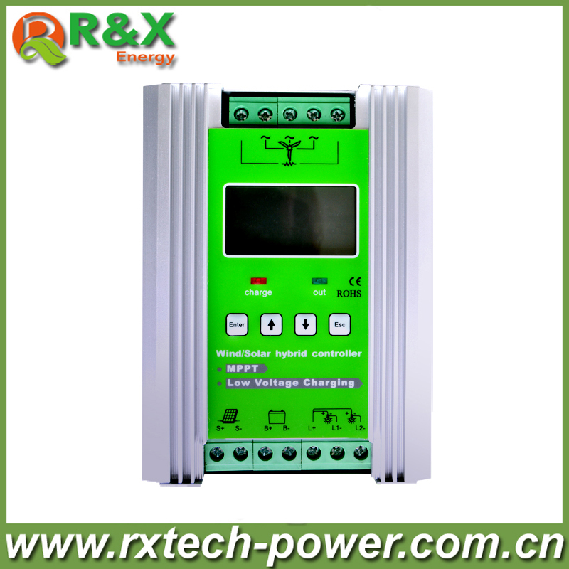 MPPT off grid wind solar hybrid controller with LCD display, for 600w wind and 300w solar, come with booster and unloaderMPPT off grid wind solar hybrid controller with LCD display, for 600w wind and 300w solar, come with booster and unloader