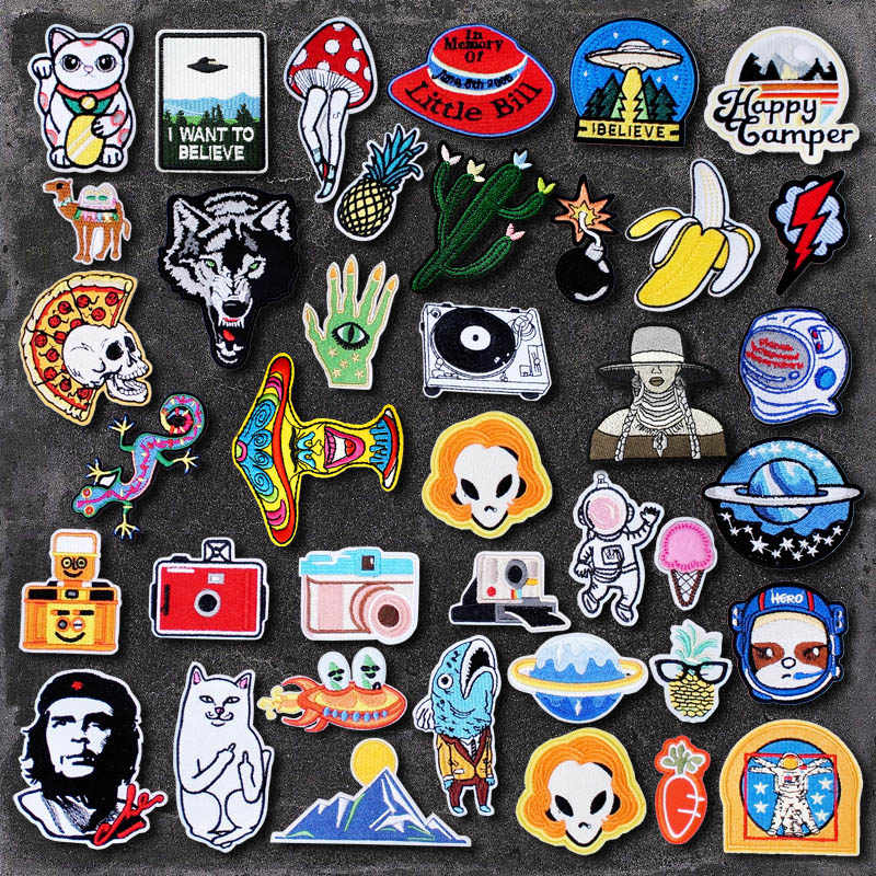 Banana Lightning Cactus DIY Cloth Badges Mend Decorate Iron On Patch Clothes Apparel Sewing Decoration Applique Sew On Patches